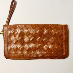 Urban Expressions Woven Clutch Handbag Brown